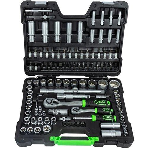 JBM 52979 Estuche de herramientas 113 piezas con vasos de 12 cantos - cromado